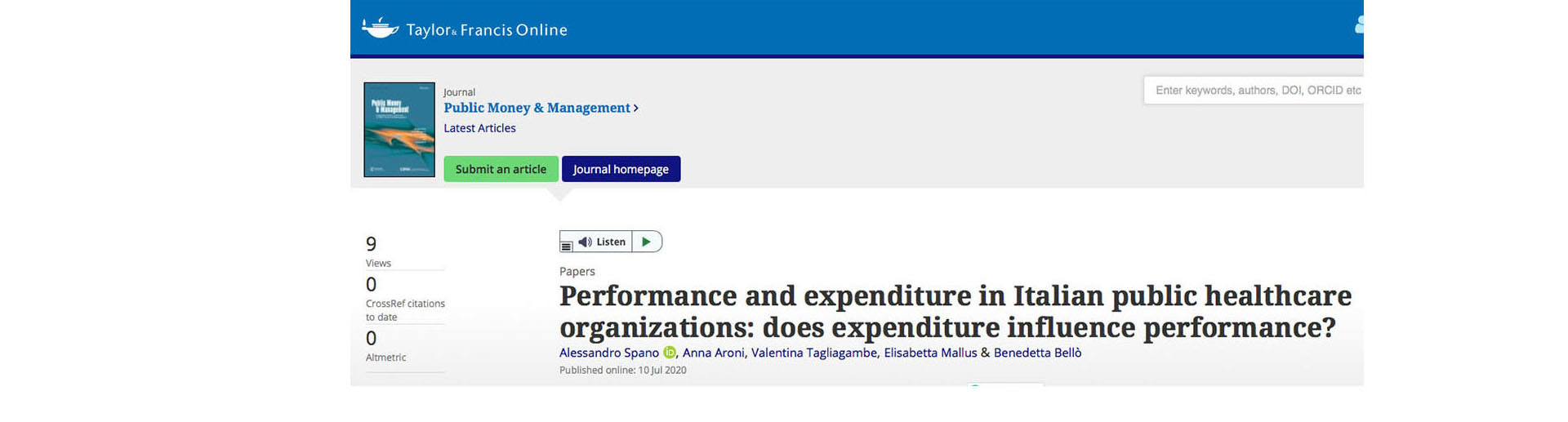 "Disponibile online: ""Performance and expenditure in Italian public healthcare organizations: does expenditure influence performance?"""